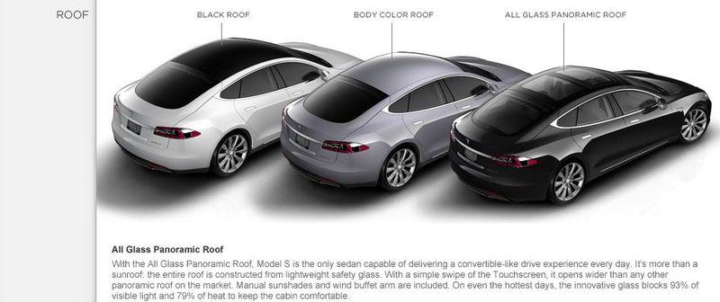 Tesla Motors Model S Roof - Model S and Model S Signature