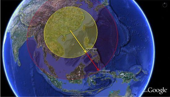 Comparative ranges of a 1500km DF-21D vs 2700km DF-21D