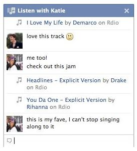 Facebook's Listen With Friends group listening chat stream