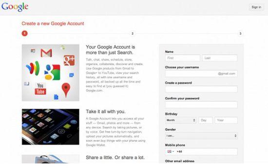 Create New Google Account Screenshot