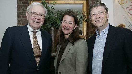 Warren Buffet, Melinda Gates and Bill Gates of the Bill and Melinda Gates Foundation