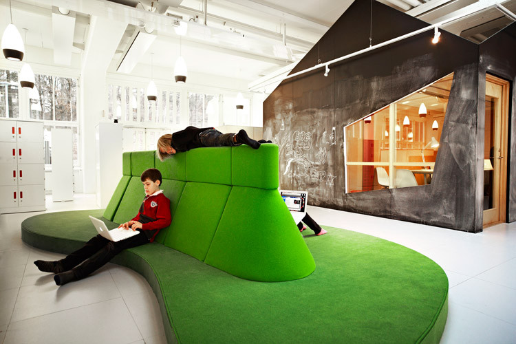 Vittra Telefonplan School has organic'Sitting-Islands' that are designed specially for the children's work with labtops by RosanBosch