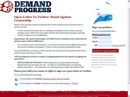 Demand Progress' Open Letter To Twitter - Stand Against Censorship