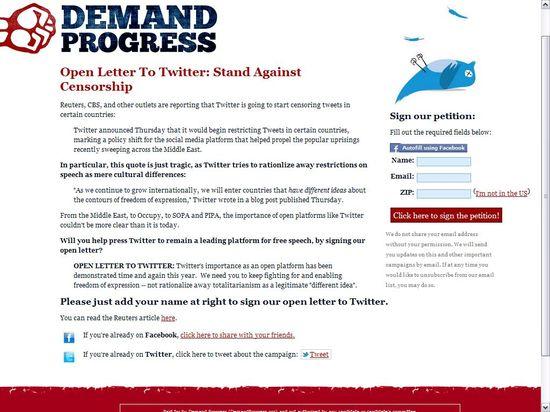 Demand Progress' Open Letter To Twitter - Stand Against Censorship