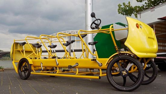 This pedal-powered school bus was made by De Cafe Racer and can be rented out for fun outings in the Netherlands