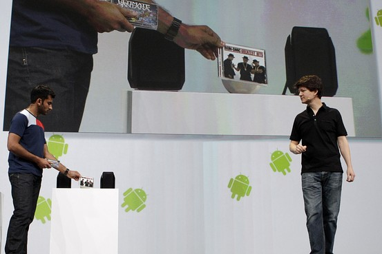 Anand Agarawala, left, and Joe Britt demonstrate new features for the Android@Home program at the Google IO Developers Conference in San Francisco in May