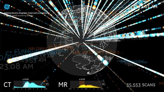 This visualization allows users to see GE scanning activity around the world over the course of a day, Each dot in each spoke represents a GE scanner somewhere in the world