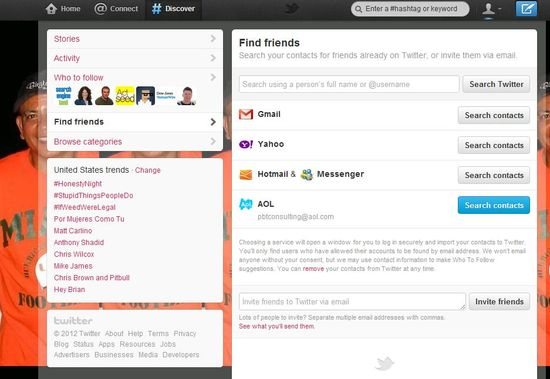 Twitter's 'Find Friends' page