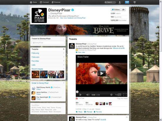 Disney-Pixar's Twitter brand page