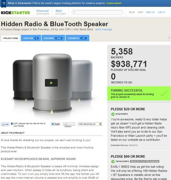Kickstarter - Hidden Radio & BlueTooth Speaker