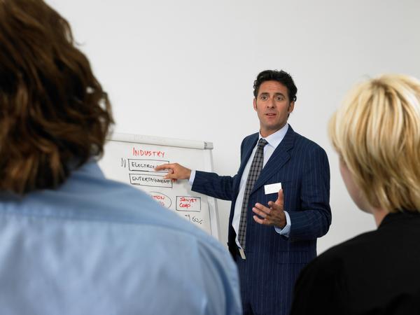 Management team brainstorming while preparing a marketing plan