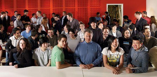 Y Combinator Managing Partner Paul Grham (blue jersey) and his Y Combinator startup class