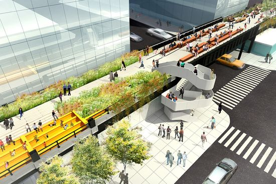 High Line at the Rail Yard - A new stairwell will provide access to the park at the intersection of West 30th Street and 11th Ave