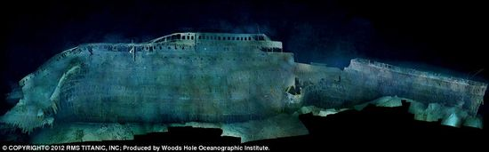 RMS Titanic buckled as it plowed nose-first into the seabed, leaving the forward hull buried deep in mud—obscuring, possibly forever, the damage inflicted by the iceberg
