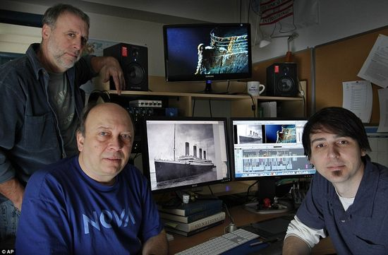 Researchers Kirk Wolfinger, top left, Rushmore DeNooyer, and Tony Bacon put together the 100,000 sonar images of the Titanic for a History Channel documentary