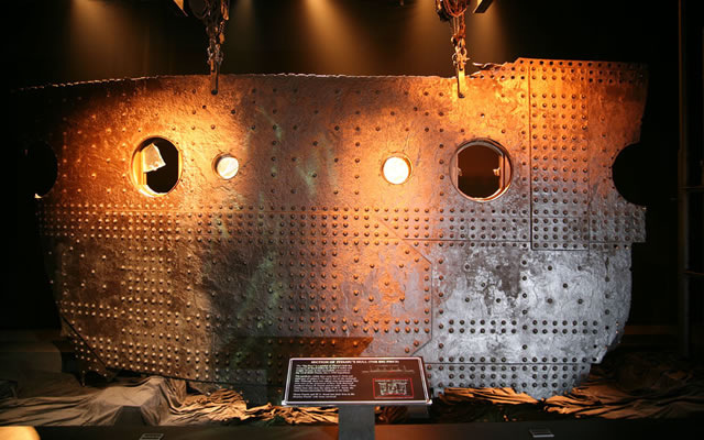 A portion of RMS Titanic hull steel panel that broke off when she sunk, shows several portals and hundreds of rivets