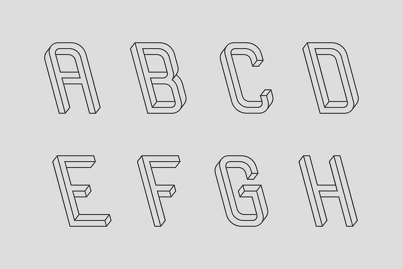 Frustro 3D typeface 1