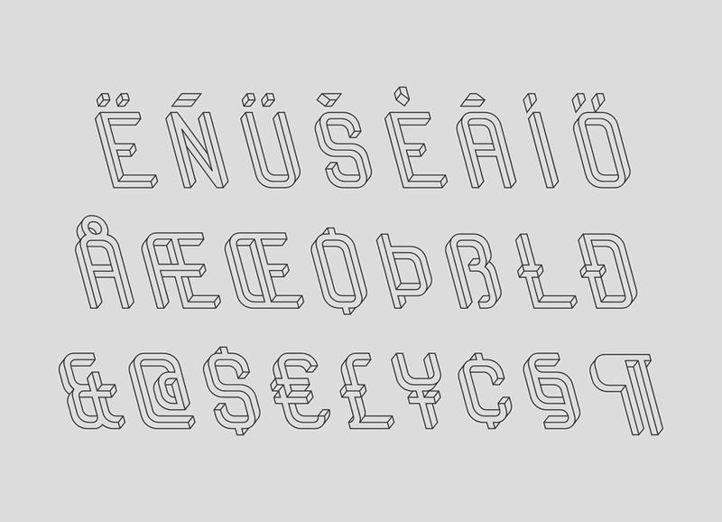 Frustro 3D typeface 3