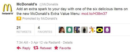 McDonald's Promoted Tweet
