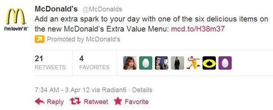 McDonald's Promoted Tweet