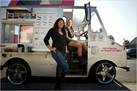Freya Estreller, left, and Natasha Case operate a Coolhaus ice cream sandwich truck by the American Museum of Natural History in New York City
