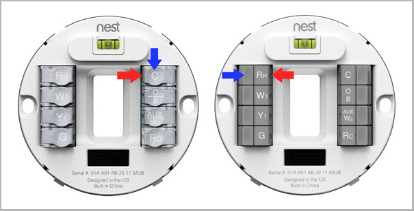 The Nest Thermostat comes with new push down tabs (right) to make your settings