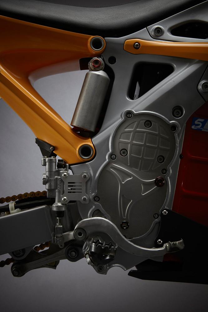 The RedShift all-electric drivetrain. Notice the subtle 'Owl' motif emblem