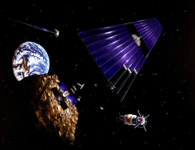 Artist rendition of a robotic mining mission to a near-Earth asteroid