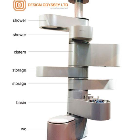 Vertebrae Vertical Bathroom, available anywhere a bathroom for a tight space is needed