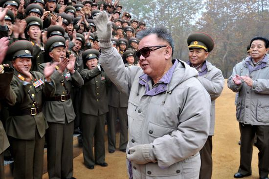 This undated picture shows Kim Jong Il inspecting Korean People's Army unit 789.