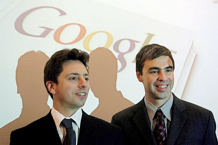 Google co-founders Sergey Brin (left) and Larry Page