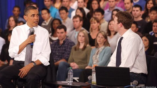 President Barack Obama visited Facebook and met with Mark Zuckerberg