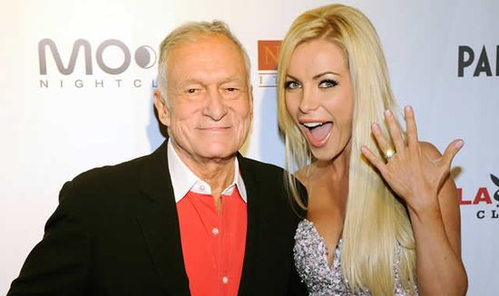 Crystal Harris proudly shows her 90 thousand engagement ring given to her by Playboy mogul Hugh Hefner