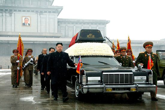 Kim Jong Eun, Kim Jong Il's youngest son and North Korea's new leader, walked next to his father's hearse Wednesday near Kumsusan Memorial Palace in Pyongyang.