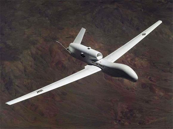 The Navy's 5th Fleet in the Pacific is testing a new unmanned drone similar to the RQ-4 Global Hawk (shown here), referred to as the Broad Area Maritime Surveillance system.