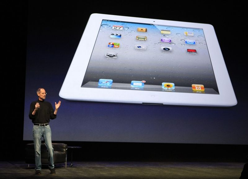On March 3, 2011 the late Apple CEO Steve Jobs introduces the the thinner, faster iPad 2 tablet to the media