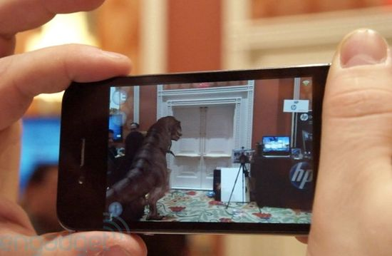 The Aurasma Augmented Reality Visual Browser app can also combine real world objects and 3D animated objects like this dinosaur