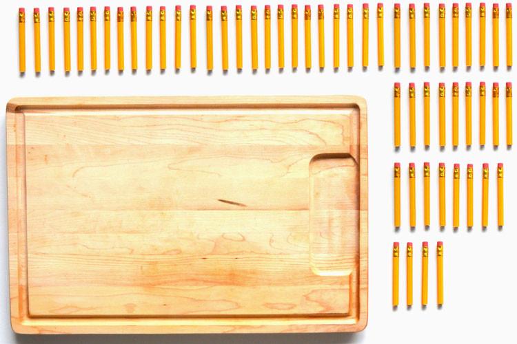 Pencil stubs. A cutting board.