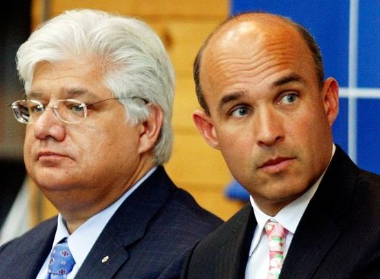 Research In Motion co-CEOs Jim Balsillie, right, and Mike Lazaridis resigned under pressure to turnaround the troubled maker of BlackBerry cell phones