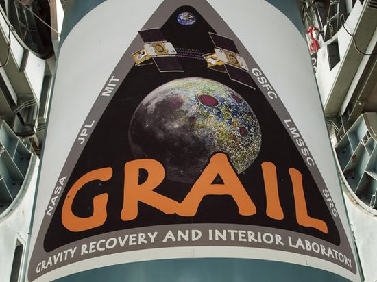 GRAIL's logo is emblazoned on the first stage of the Delta 2 rocket