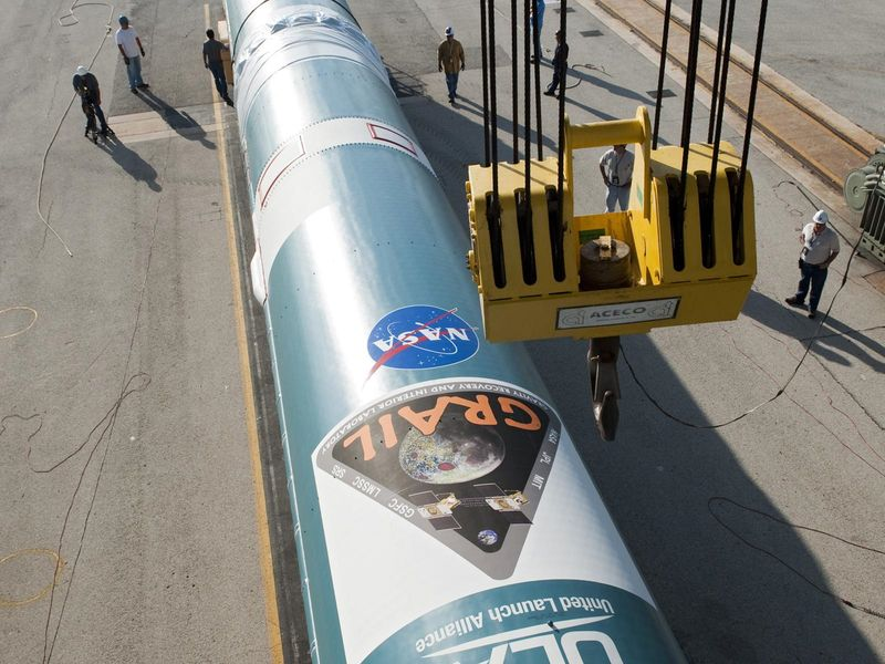 The first stage of a United Launch Alliance Delta II rocket has arrived at Space Launch Complex 17B at Cape Canaveral Air Force Station in Florida on April 7, 2011