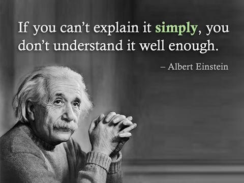 The Business Model according to Einstein, 'If you can't explain it simply, you don't understand it well enogh'