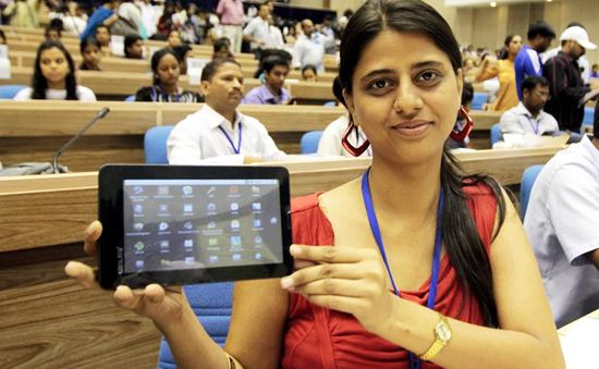 The $35 Indian Aakash tablet invented by students at the Indian Institute of Technology (IIT)