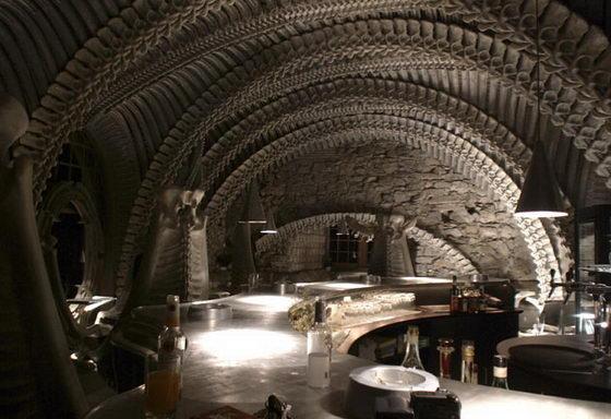Interior of the HR Giger 'Alien' Bar in the HR GIger Museum in Gruyeres, Switzerland 2
