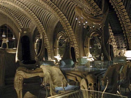 Interior of the HR Giger 'Alien' Bar in the HR GIger Museum in Gruyeres, Switzerland 4
