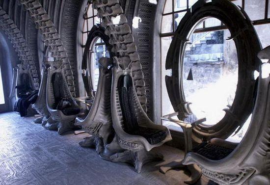 Interior of the HR Giger 'Alien' Bar in the HR GIger Museum in Gruyeres, Switzerland 7