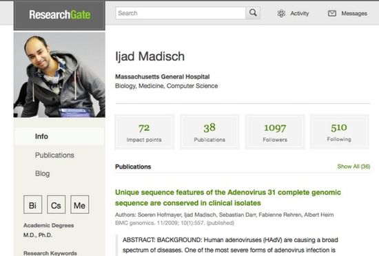 ResearchGate founder Ijad Madisch's profile page