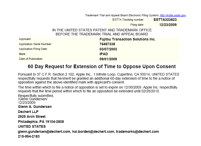 USPTO Trademark Trial and Appeal Board Electronic Filing - 60 Day Extension To Appeal Opposition to Fujitsu Trademark - December 23, 2009