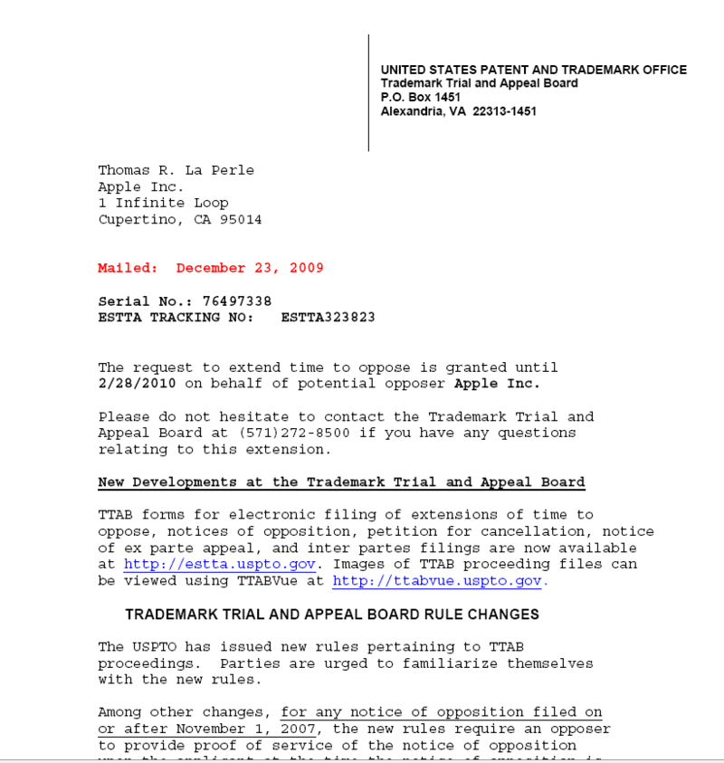 USPTO Trademark Trial and Appeal Board Electronic Filing - 60 Day Extension To Appeal Opposition to Fujitsu Trademark Granted - December 23, 2009