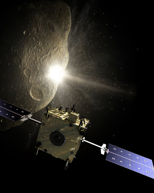 The key moment of the Don Quijote mission, the Impactor spacecraft (Hidalgo) smashes into the asteroid while observed, from a safe distance, by the Orbiter spacecraft (Sancho)